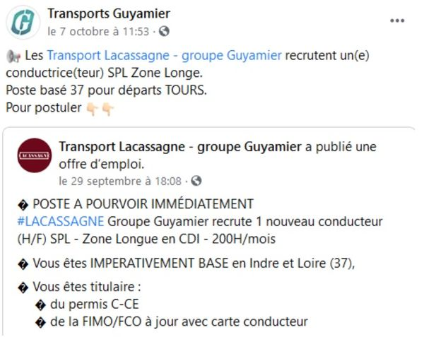 Transport Guyamier Facebook-Account